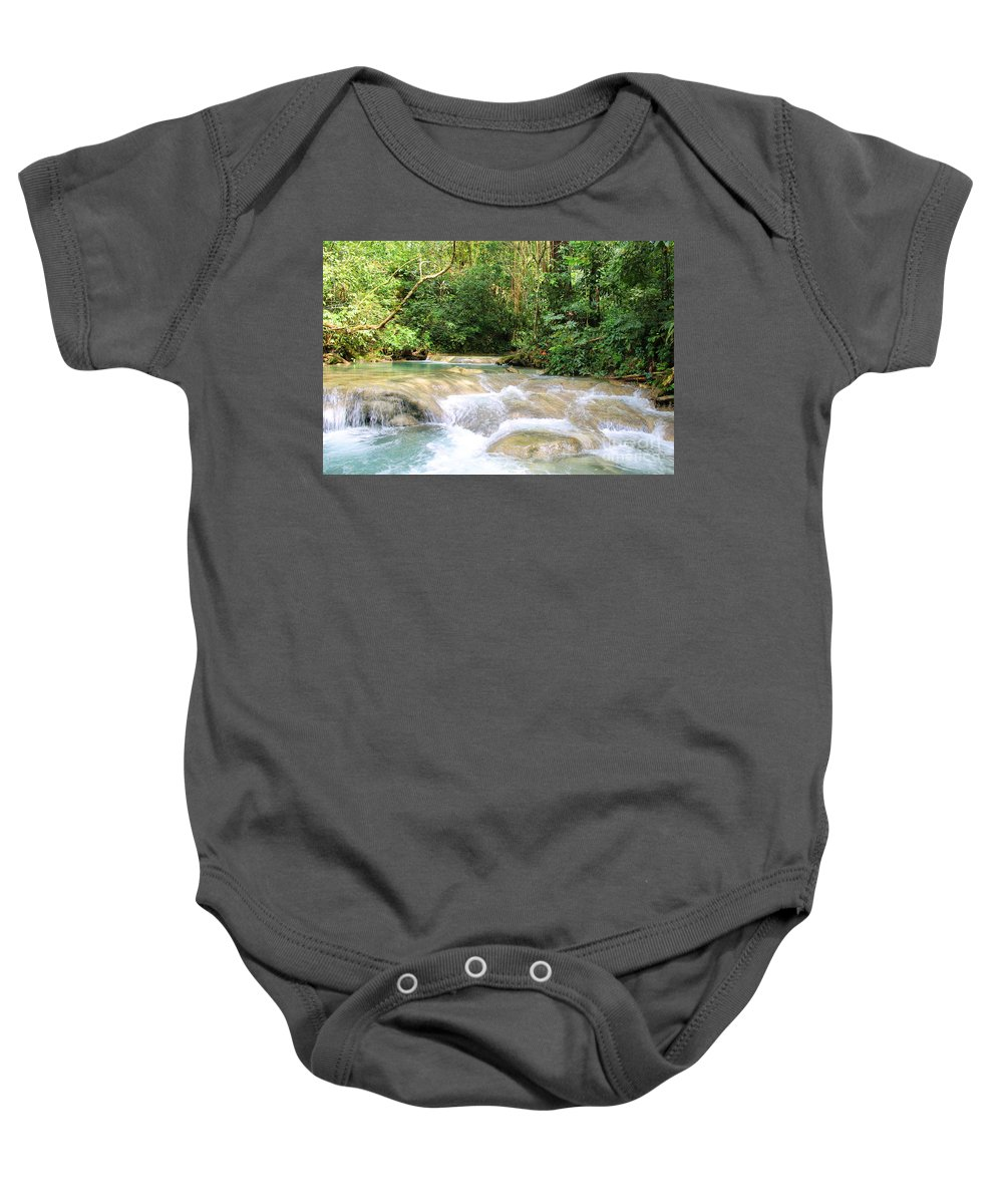 Mayfield Falls Baby Onesie featuring the photograph Mayfield Falls Jamaica3 by Debbie Levene