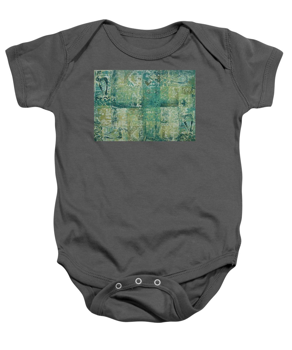 Wood Cut Baby Onesie featuring the painting Mesopotamia by Ousama Lazkani