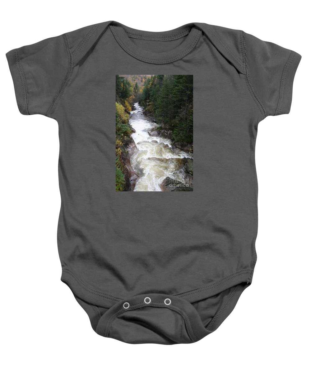 Franconia Notch Baby Onesie featuring the photograph Pemigewasset River Franconia Notch by Christiane Schulze Art And Photography