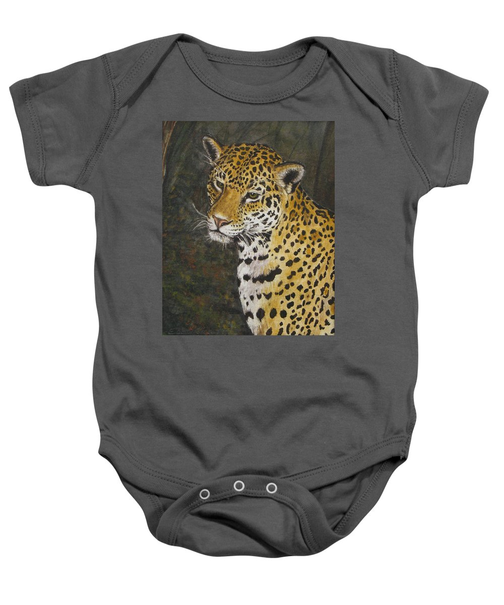 Wildlife Baby Onesie featuring the painting South American Jaguar by Elaine Booth-Kallweit