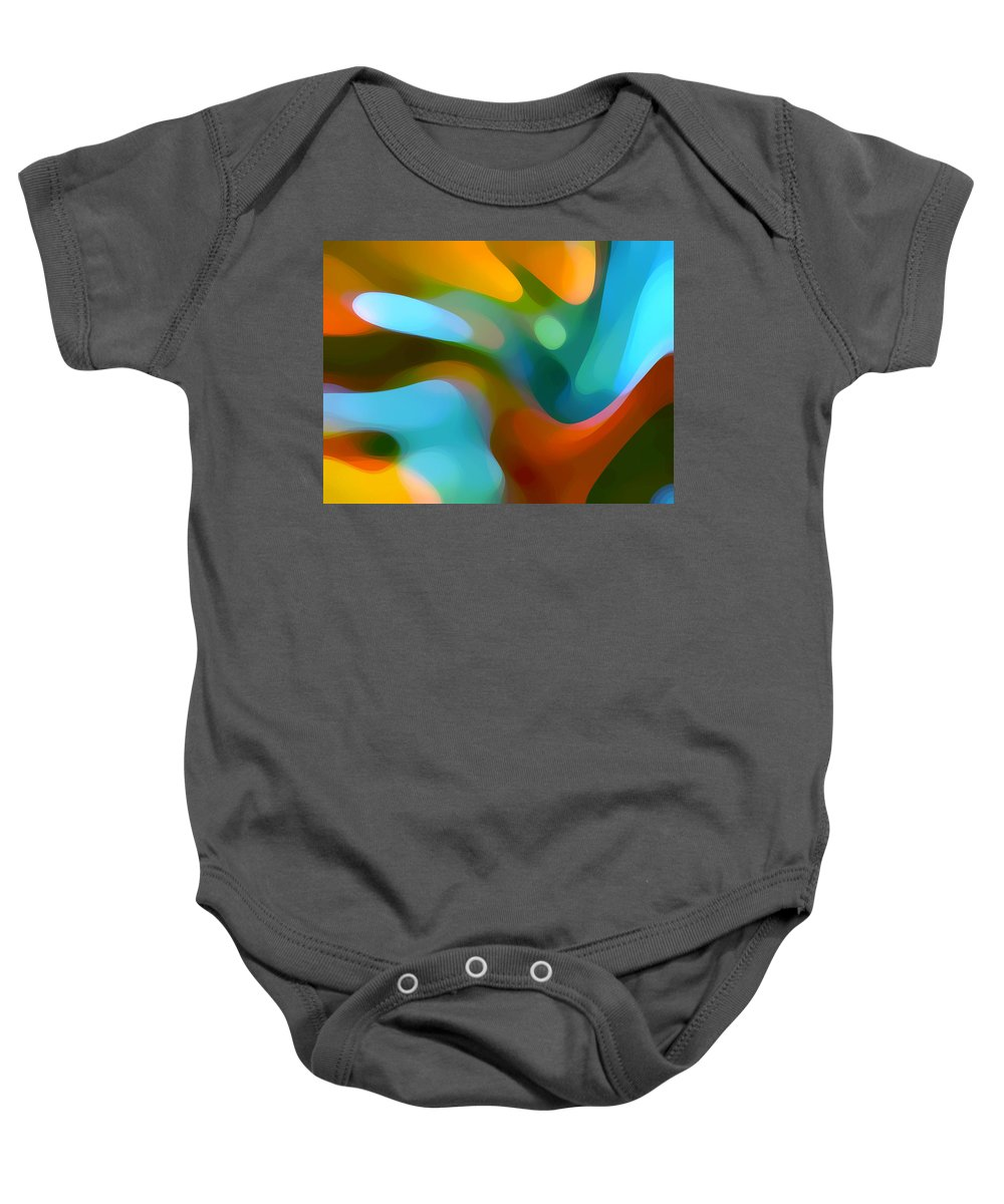 Abstract Baby Onesie featuring the painting Tree Light 1 by Amy Vangsgard