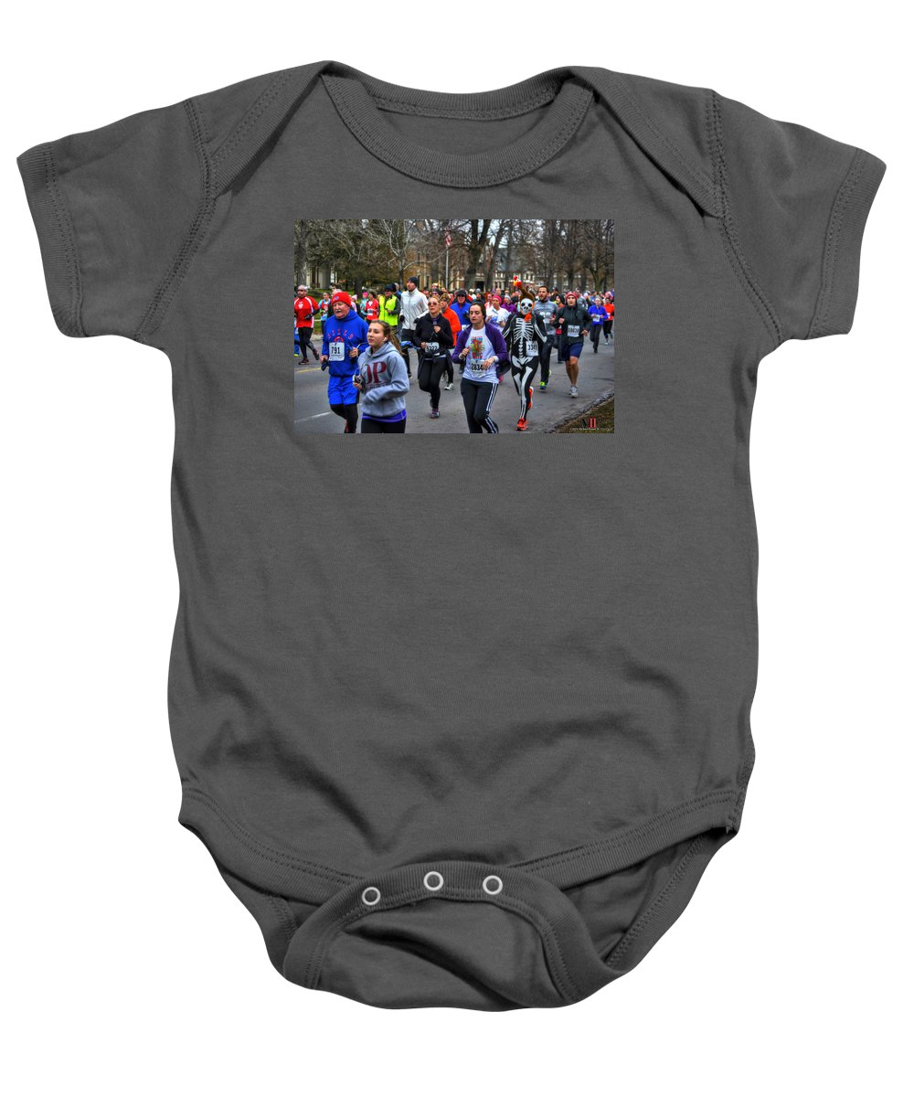 Michael Frank Jr Baby Onesie featuring the photograph 0016 Turkey Trot 2014 by Michael Frank Jr