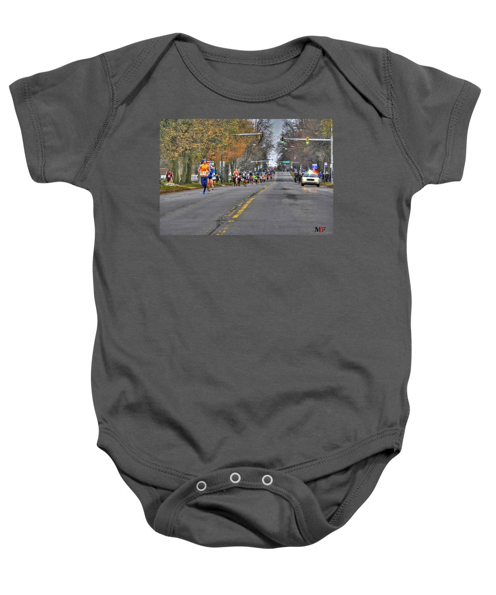Michael Frank Jr Baby Onesie featuring the photograph 002 Turkey Trot 2014 by Michael Frank Jr