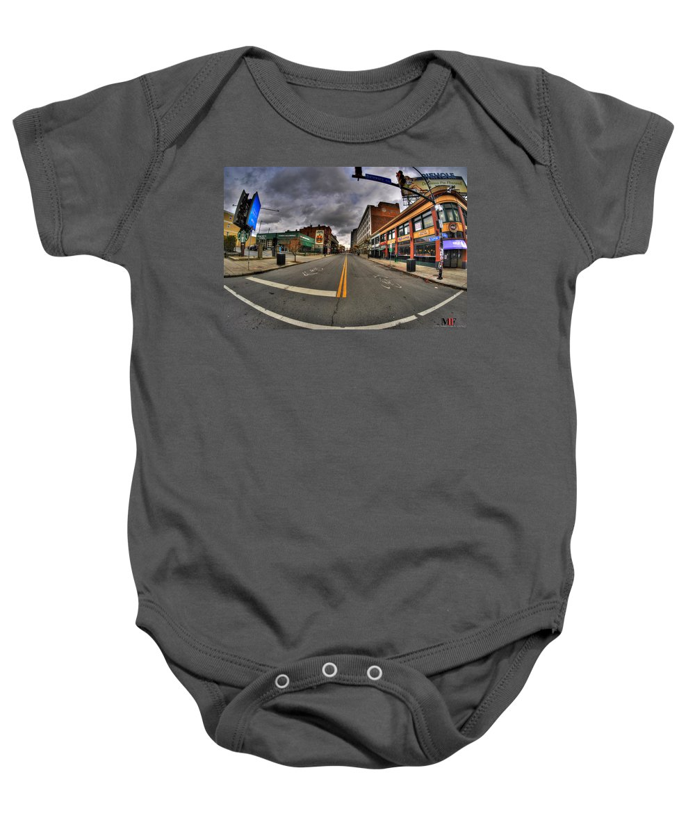 Michael Frank Jr Baby Onesie featuring the photograph 0021 Starbucks Or Spot... by Michael Frank Jr