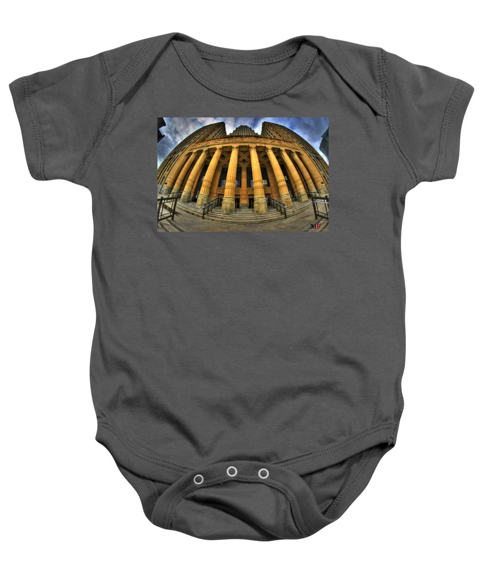 Michael Frank Jr Baby Onesie featuring the photograph 0022 Admiring The Architecture Of Our City Hall by Michael Frank Jr