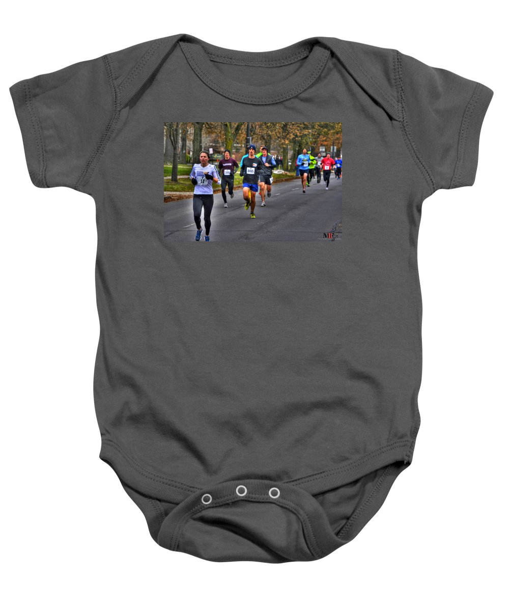 Michael Frank Jr Baby Onesie featuring the photograph 004 Turkey Trot 2014 by Michael Frank Jr