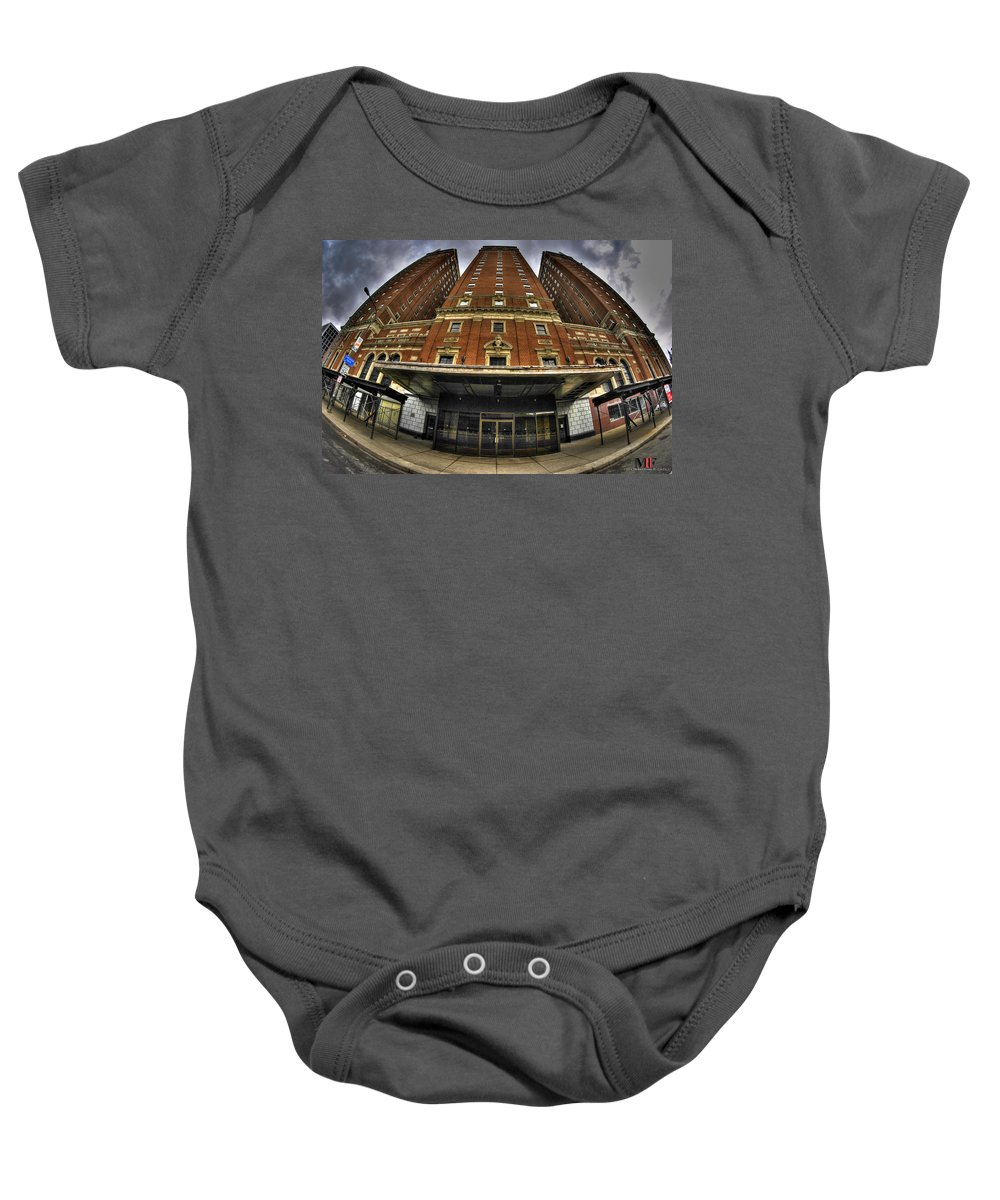 Michael Frank Jr Baby Onesie featuring the photograph 006 The Statler Towers by Michael Frank Jr