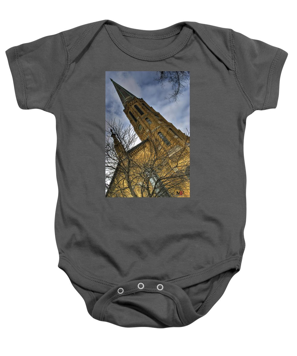 Michael Frank Jr Baby Onesie featuring the photograph 006 Westminster Presbyterian Church by Michael Frank Jr