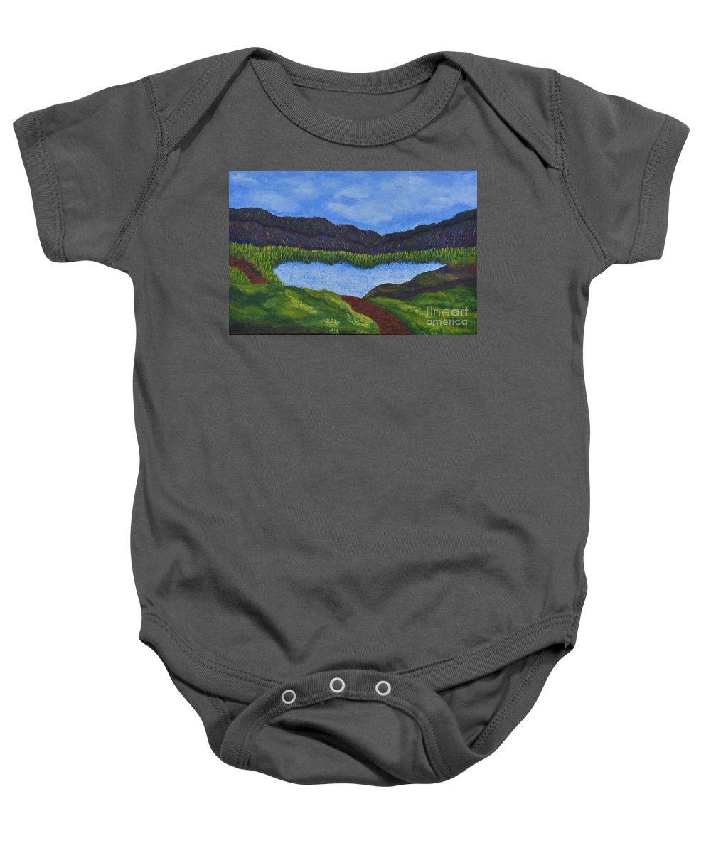 Landscape Baby Onesie featuring the painting 007 Landscape by Chowdary V Arikatla