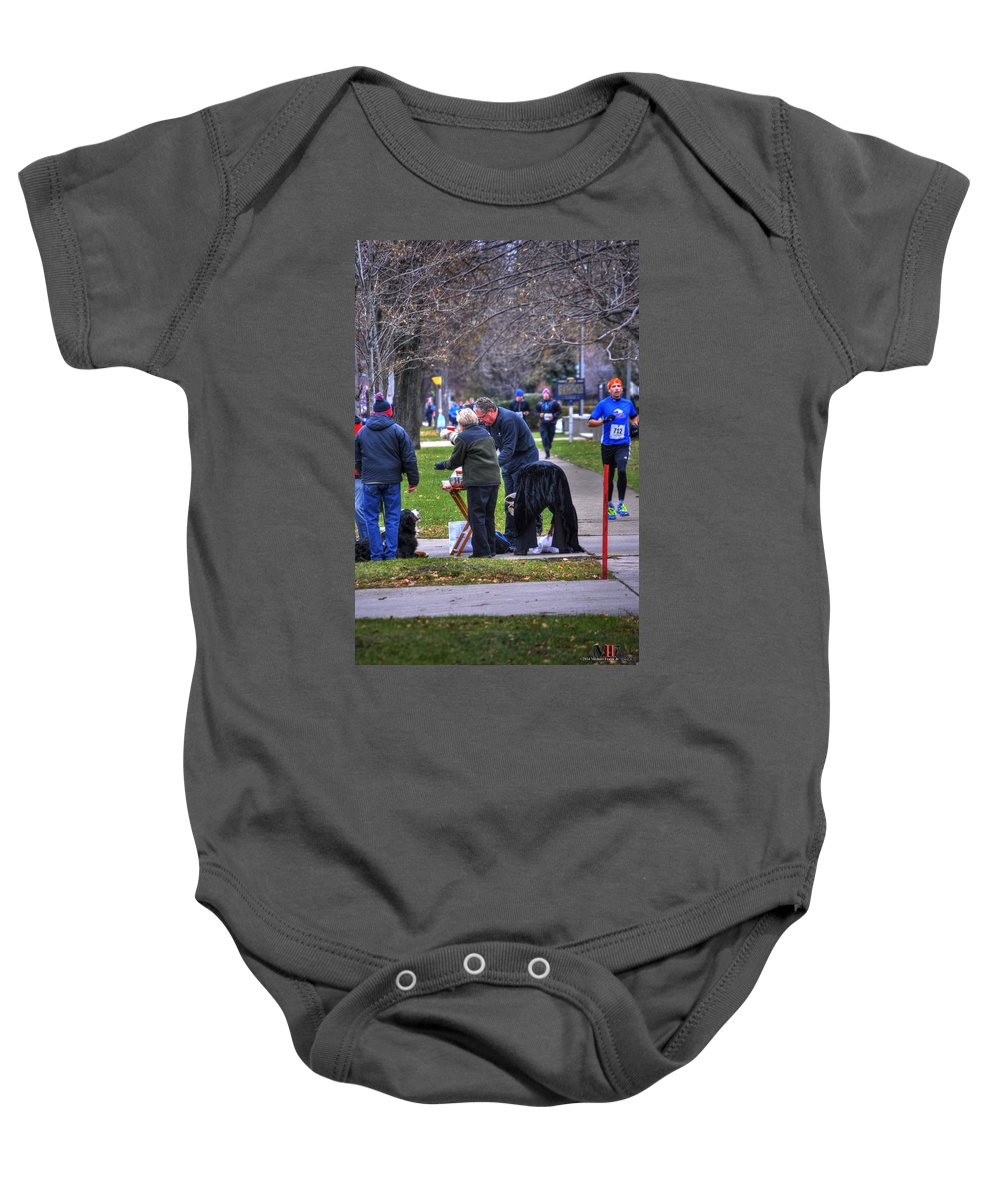 Michael Frank Jr Baby Onesie featuring the photograph 009 Bloody Marys At The Turkey Trot 2014 by Michael Frank Jr