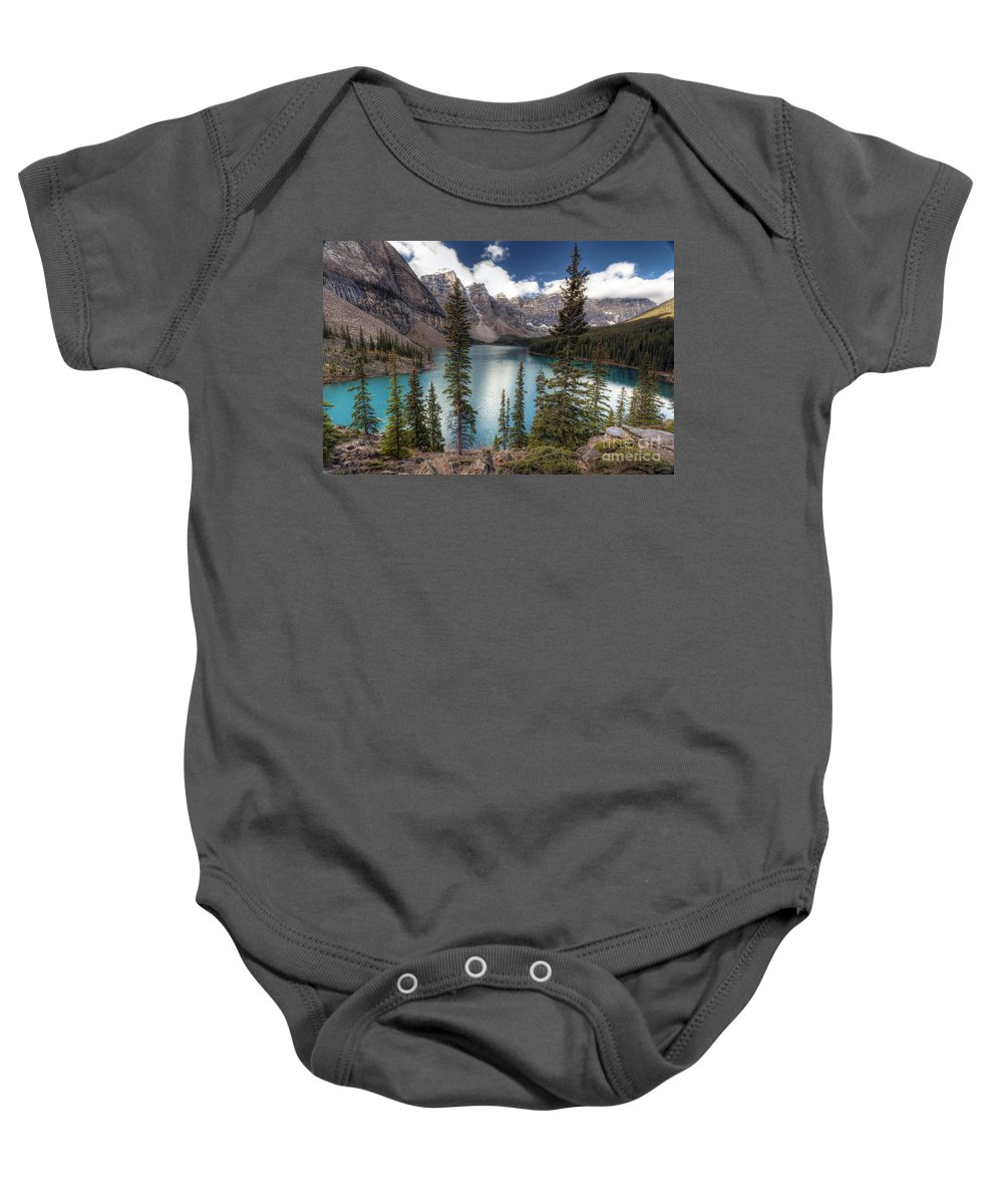 Moraine Baby Onesie featuring the photograph 0184 Moraine Lake by Steve Sturgill