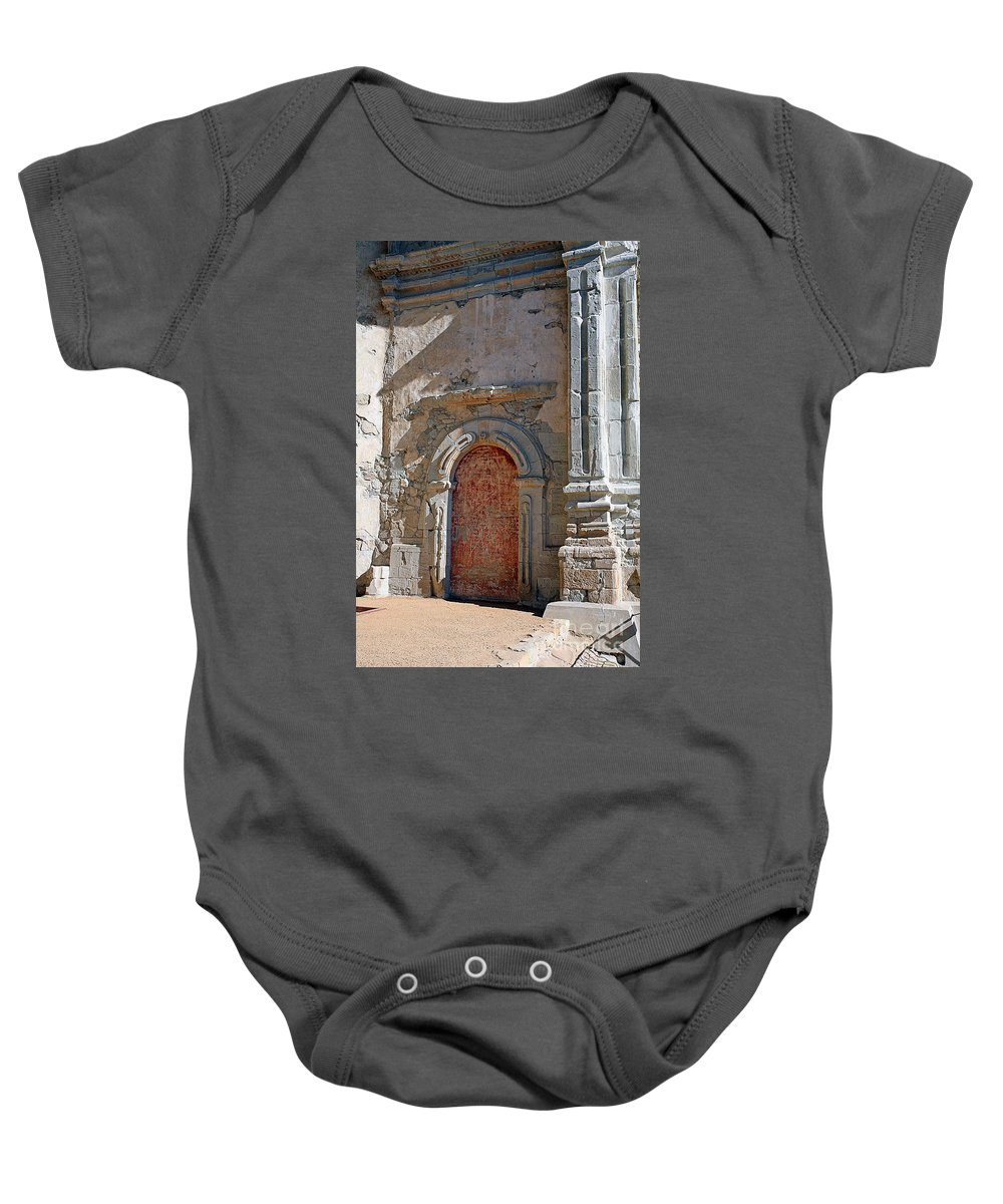 Mission Baby Onesie featuring the photograph 0328 Mission At San Juan Capistrano by Steve Sturgill