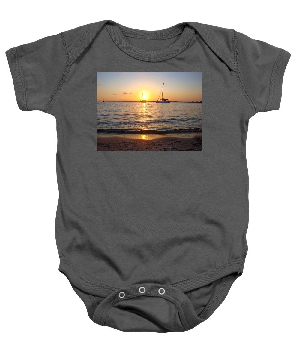 20120531 Baby Onesie featuring the photograph 0531 Sailboats At Sunset On Sound by Jeff at JSJ Photography
