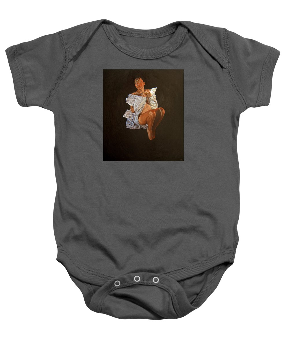 Semi-nude Baby Onesie featuring the painting 1 30 Am by Thu Nguyen