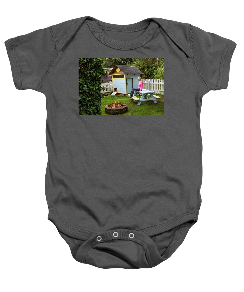 Full Length Baby Onesie featuring the photograph A Backyard Chicken Coop In Bellingham by Michael Hanson