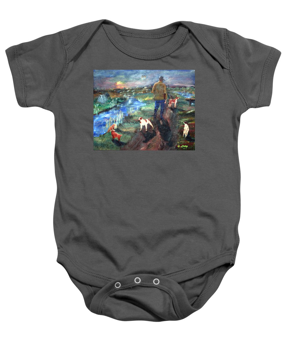 #western Prints Baby Onesie featuring the painting A Man And His Dogs by Gail Daley