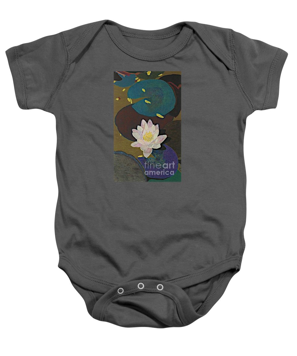 Landscape Baby Onesie featuring the painting Autumn Lily by Allan P Friedlander