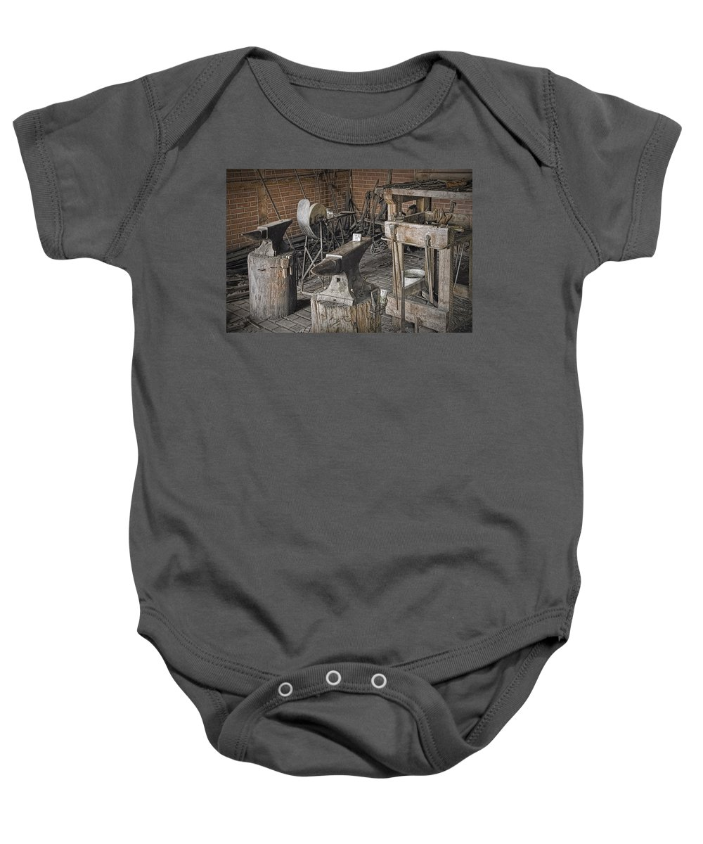 Art Baby Onesie featuring the photograph Black Smith Shop In Fort Edmonton by Randall Nyhof