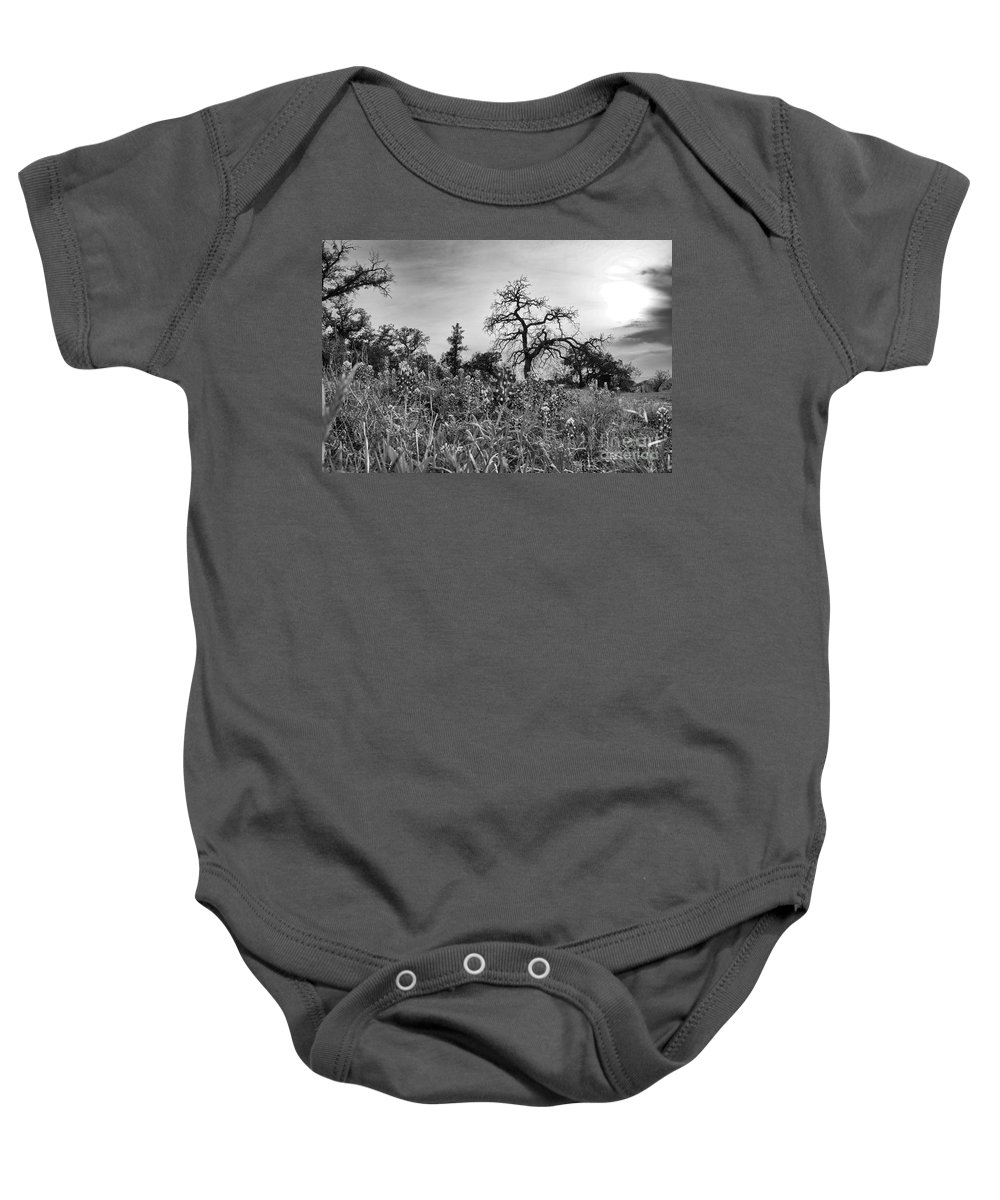 Wildflowers Baby Onesie featuring the photograph Blue Bonnets-black And White by Douglas Barnard