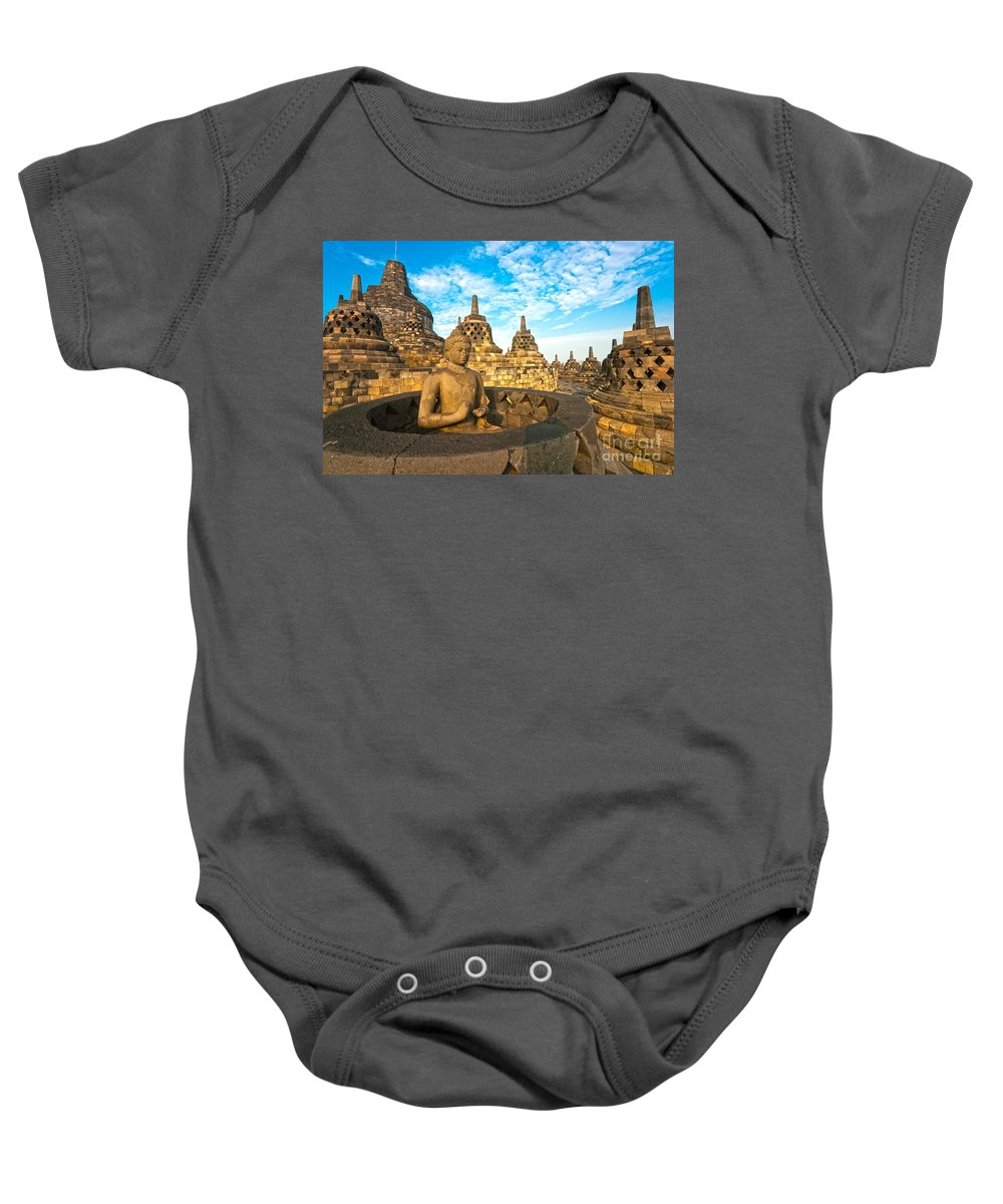 Ancient Baby Onesie featuring the photograph Borobudur Temple - Yogyakarta - Indonesia by Luciano Mortula