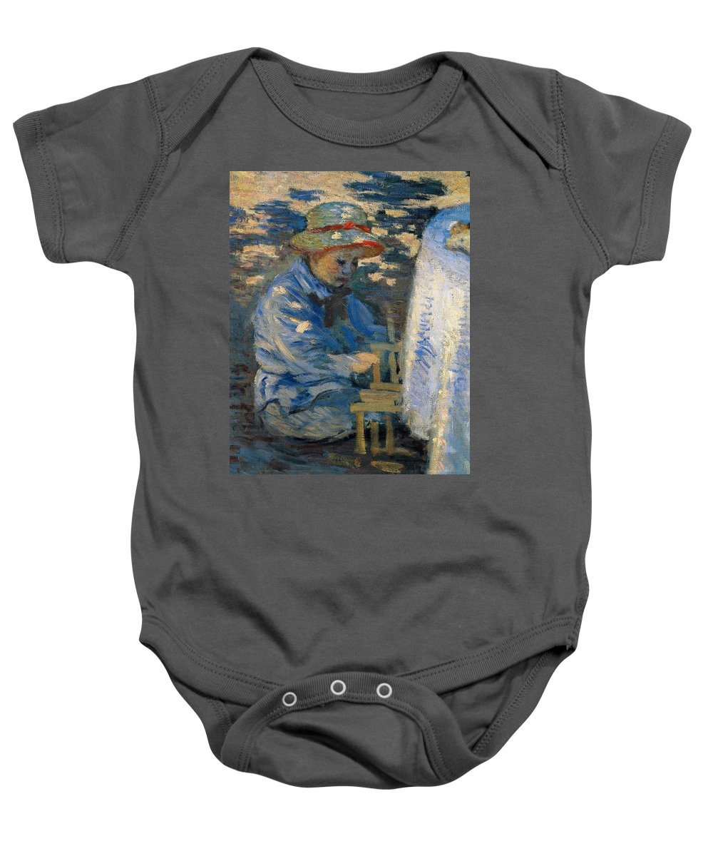 Art Baby Onesie featuring the painting Breakfast In The Garden by Claude Monet
