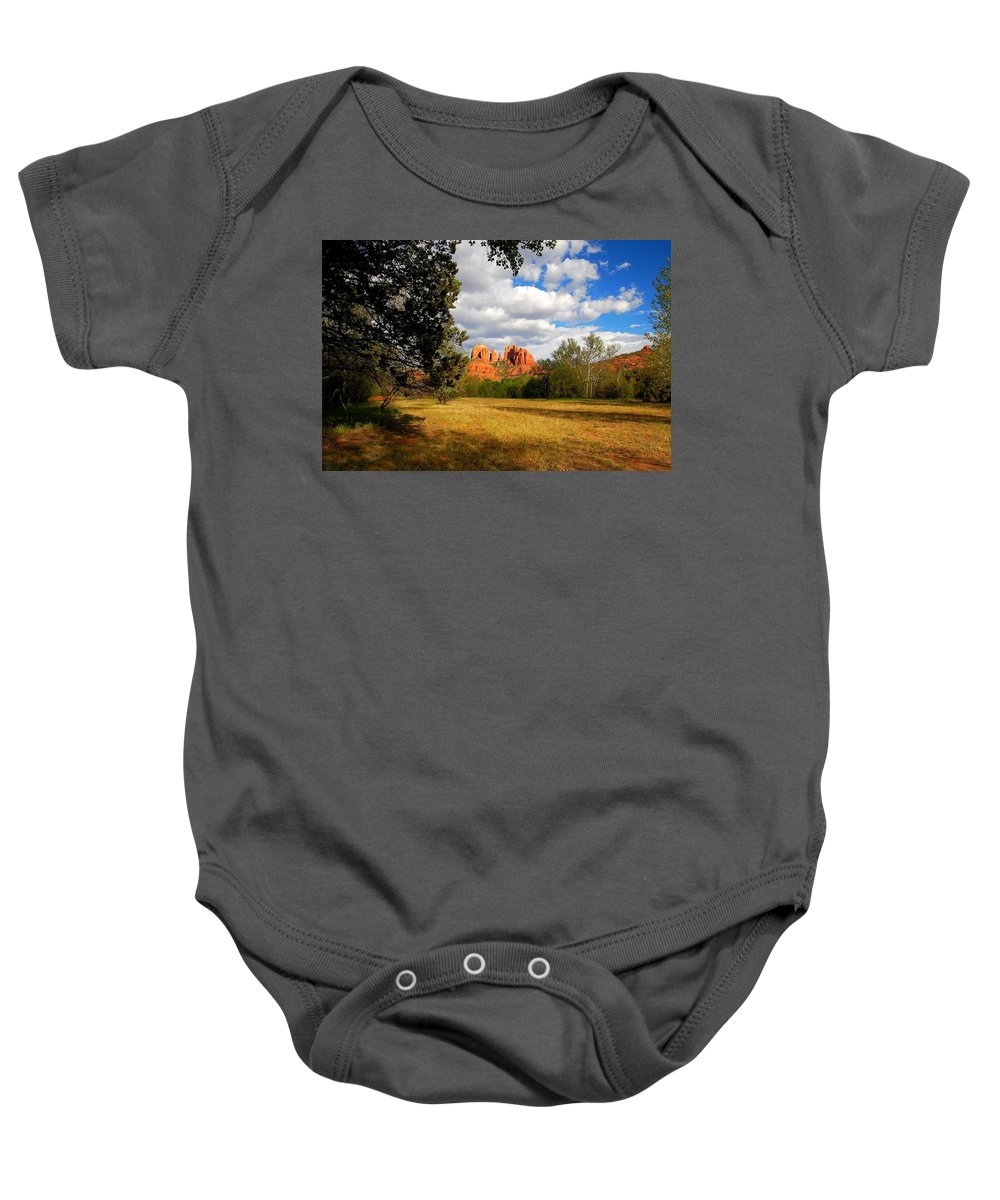 Arizona Baby Onesie featuring the photograph Cathedral Clearing by Miles Stites