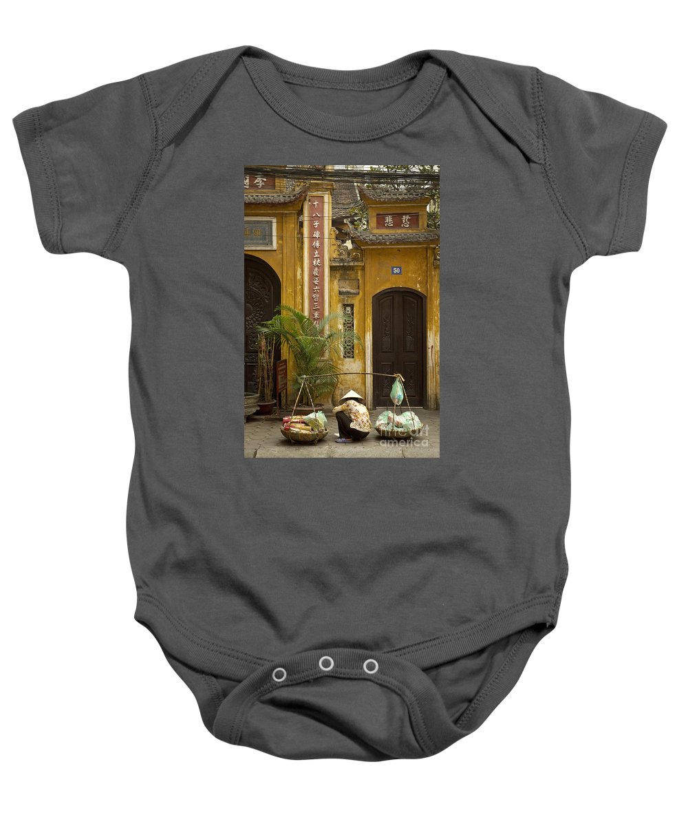 Chinese Baby Onesie featuring the photograph Chinese Temple In Hanoi Vietnam by Jacek Malipan