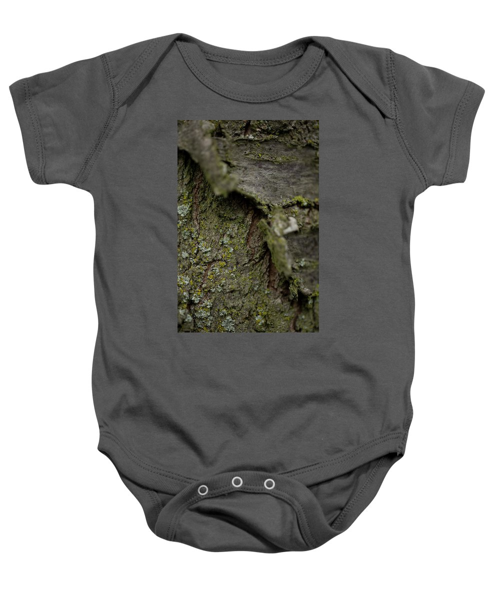 Hessen Baby Onesie featuring the photograph Closeup Of Bark Covered In Lichen by Sebastian Kujas
