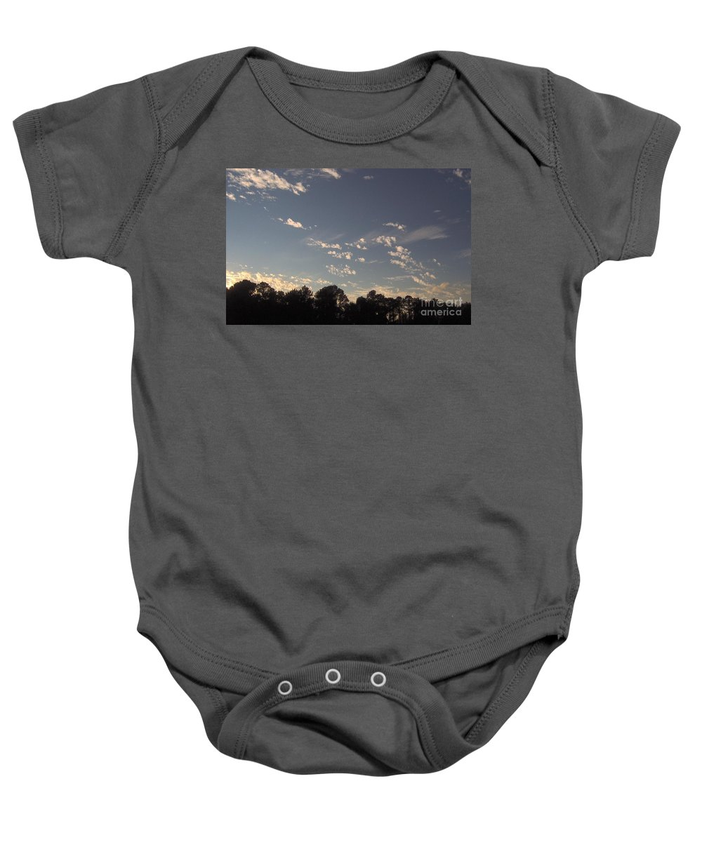 Sunset Baby Onesie featuring the photograph Clouds At Sunset by D Hackett
