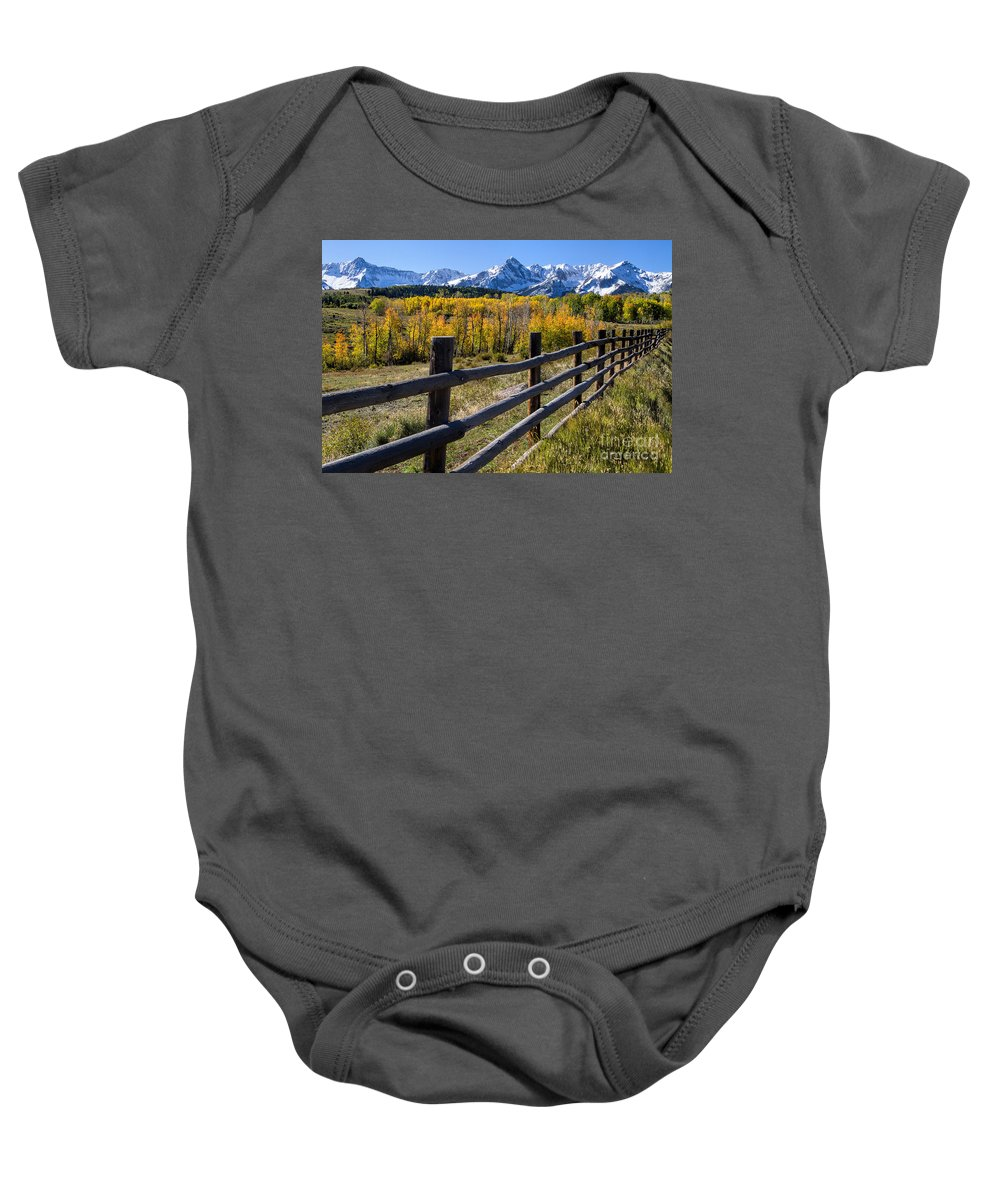 San Juan Mountains Baby Onesie featuring the photograph Down The Line by Jim Garrison