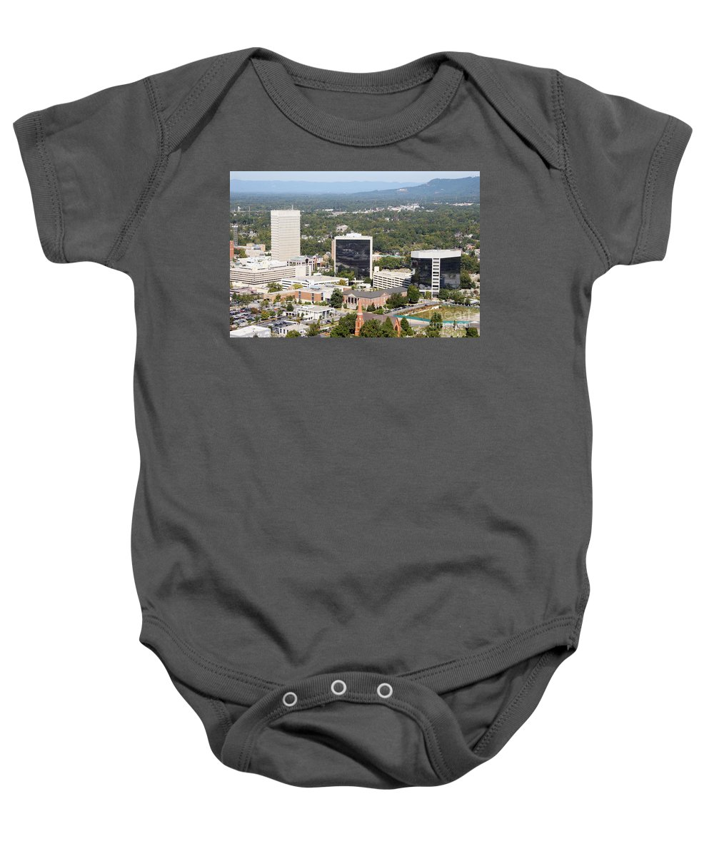 Aerial Baby Onesie featuring the photograph Downtown Greenville by Bill Cobb