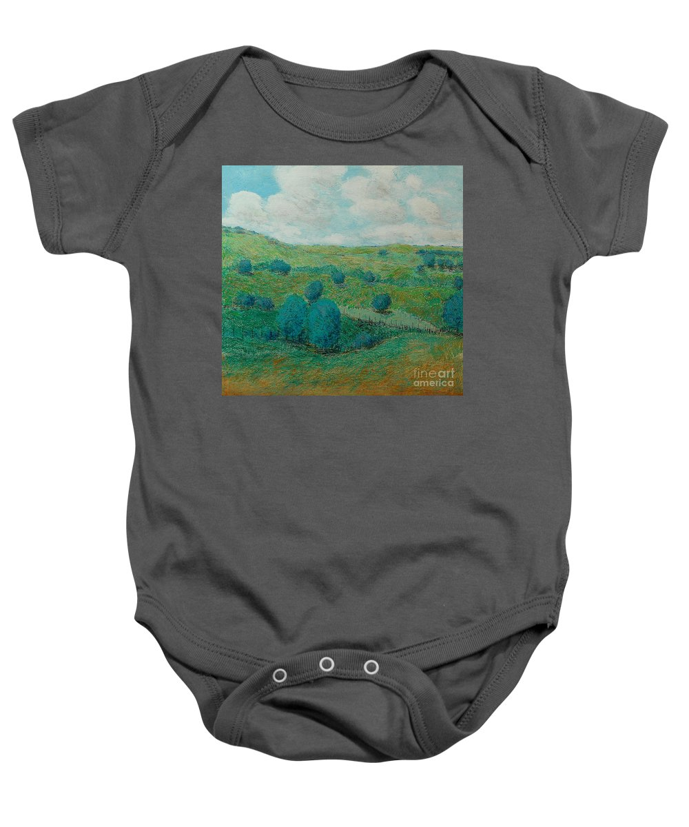 Landscape Baby Onesie featuring the painting Dry Hills by Allan P Friedlander