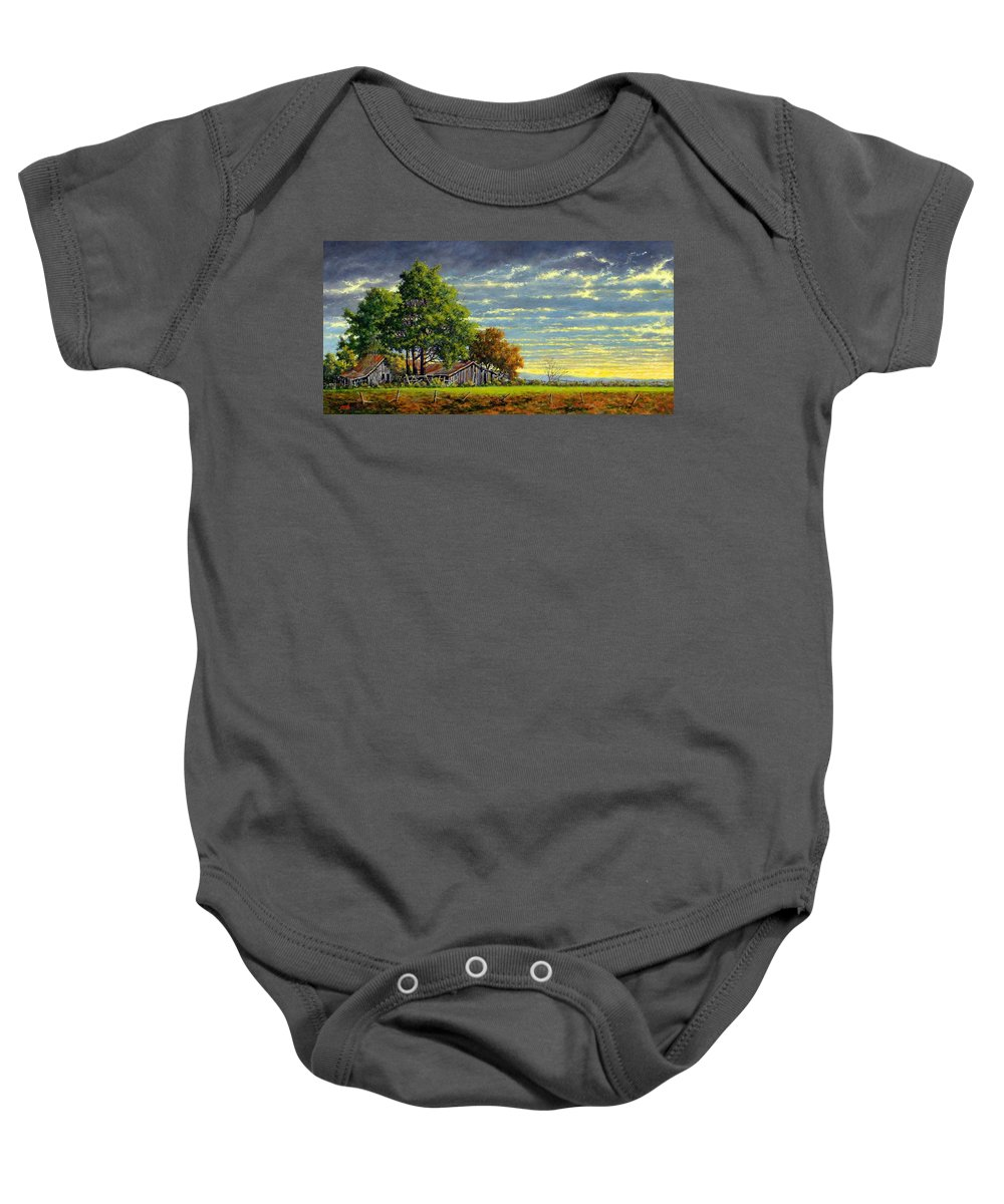 Landscape Baby Onesie featuring the painting Dusk by Jim Gola