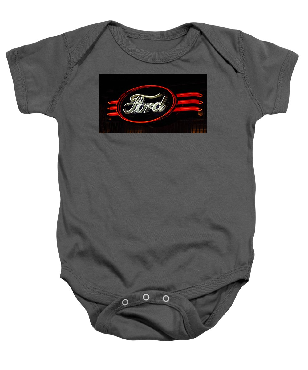 Ford Neon Sign Baby Onesie featuring the photograph Ford Neon Sign by Jill Reger