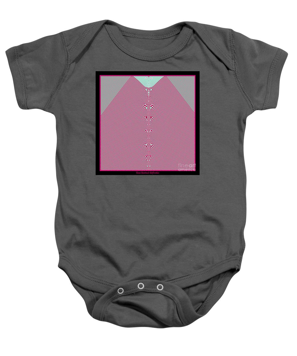 Gingham Baby Onesie featuring the digital art Fractal 28 Pink Gingham Shirt by Rose Santuci-Sofranko