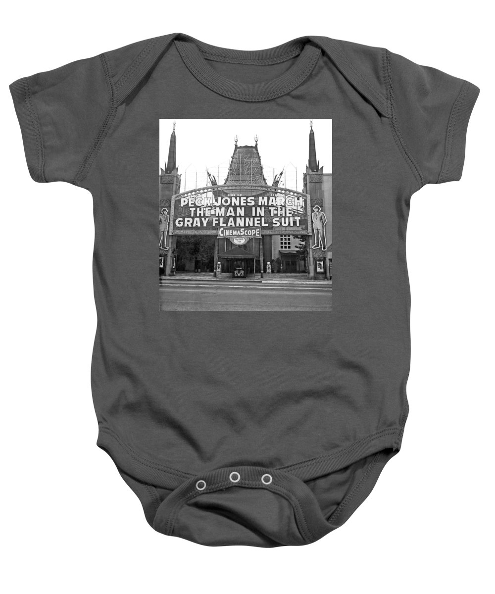 1956 Baby Onesie featuring the photograph Grauman's Chinese Theater by Underwood Archives