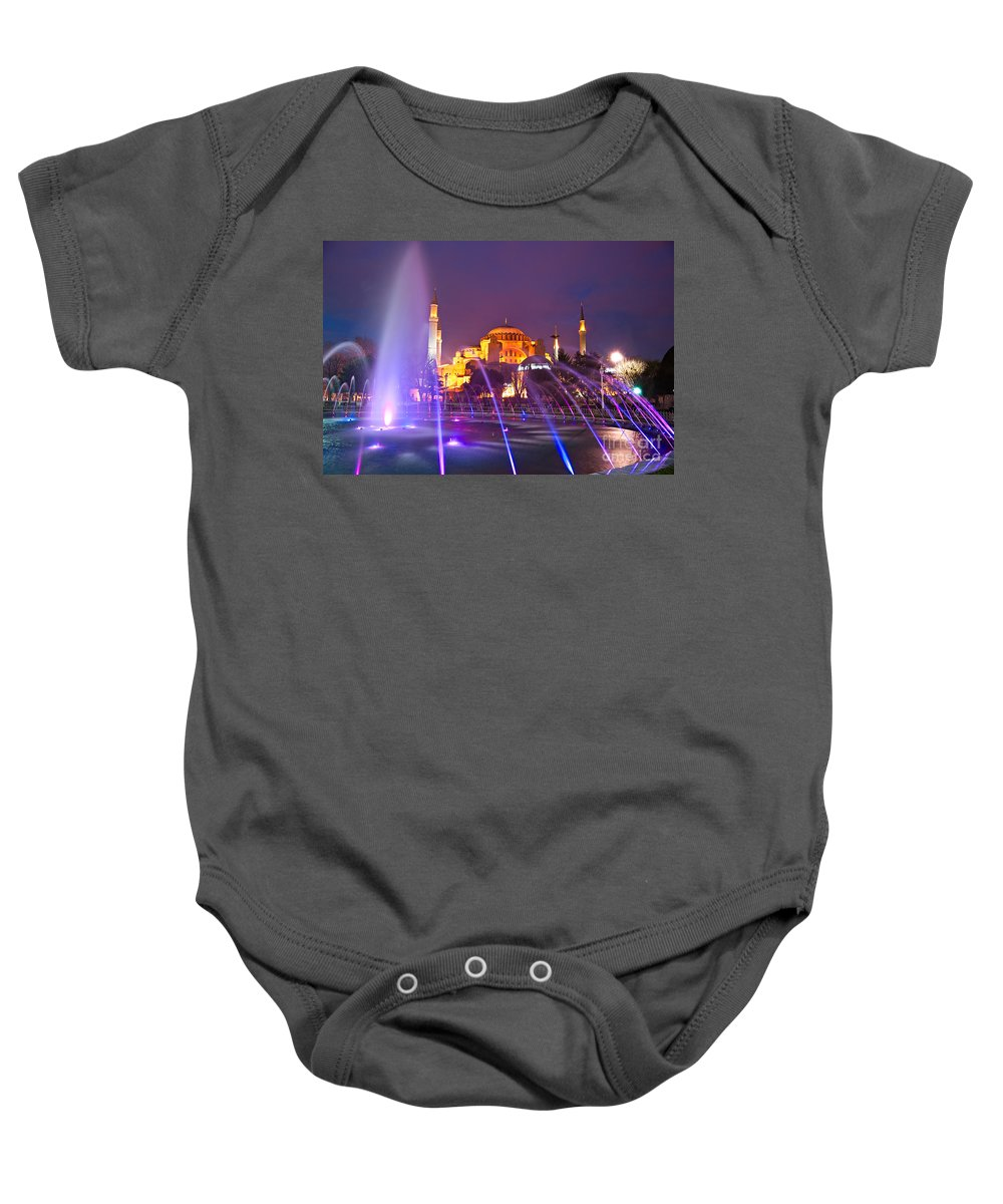 Architecture Baby Onesie featuring the photograph Hagia Sophia - Istanbul by Luciano Mortula