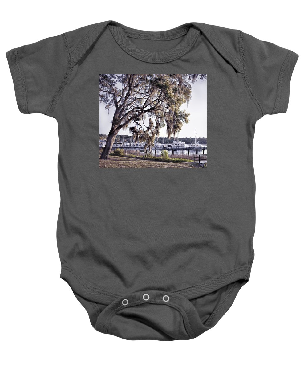 Tybee Island Baby Onesie featuring the photograph Isle Of Hope Marina by Diana Powell