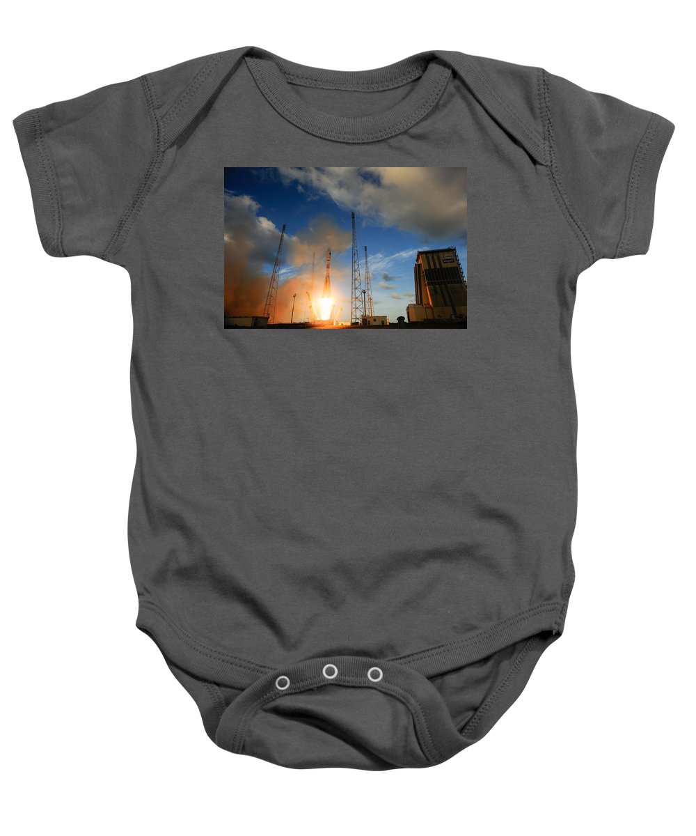 Science Baby Onesie featuring the photograph Launch Of Soyuz Vs07 2014 by Science Source