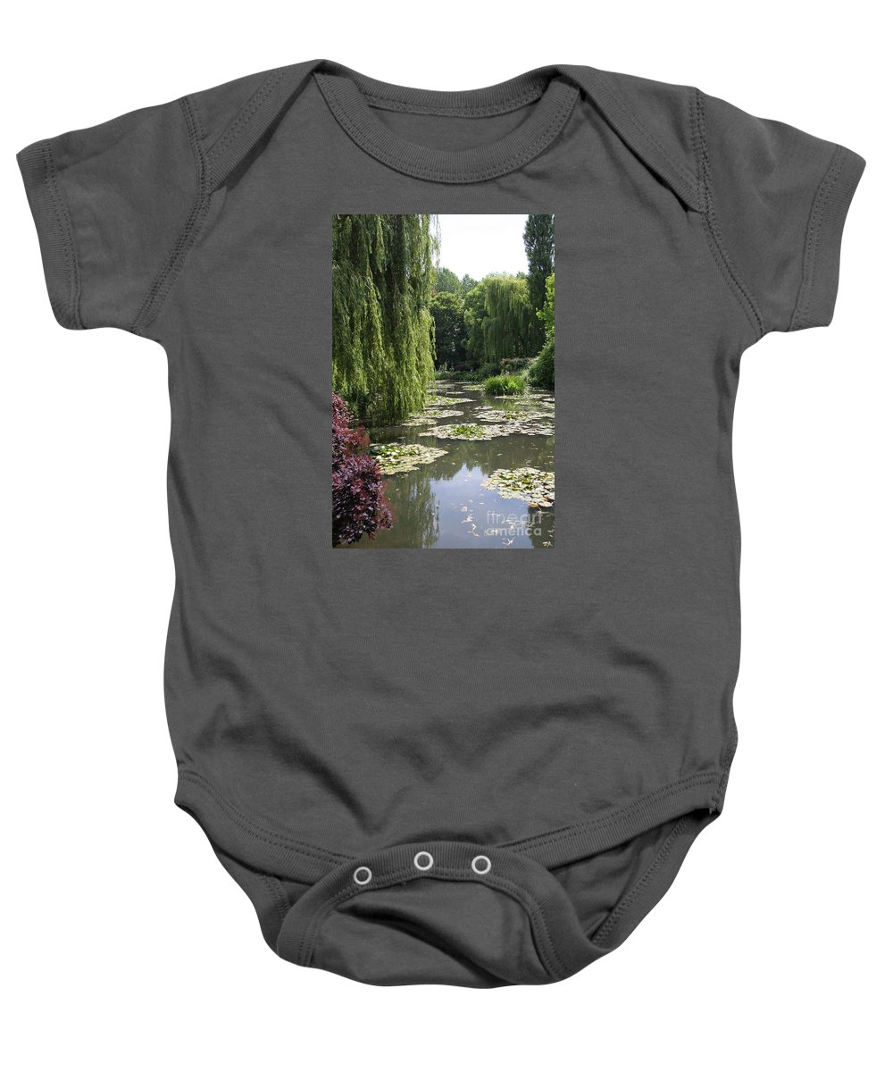 Lilies Baby Onesie featuring the photograph Lily Pond - Monets Garden by Christiane Schulze Art And Photography