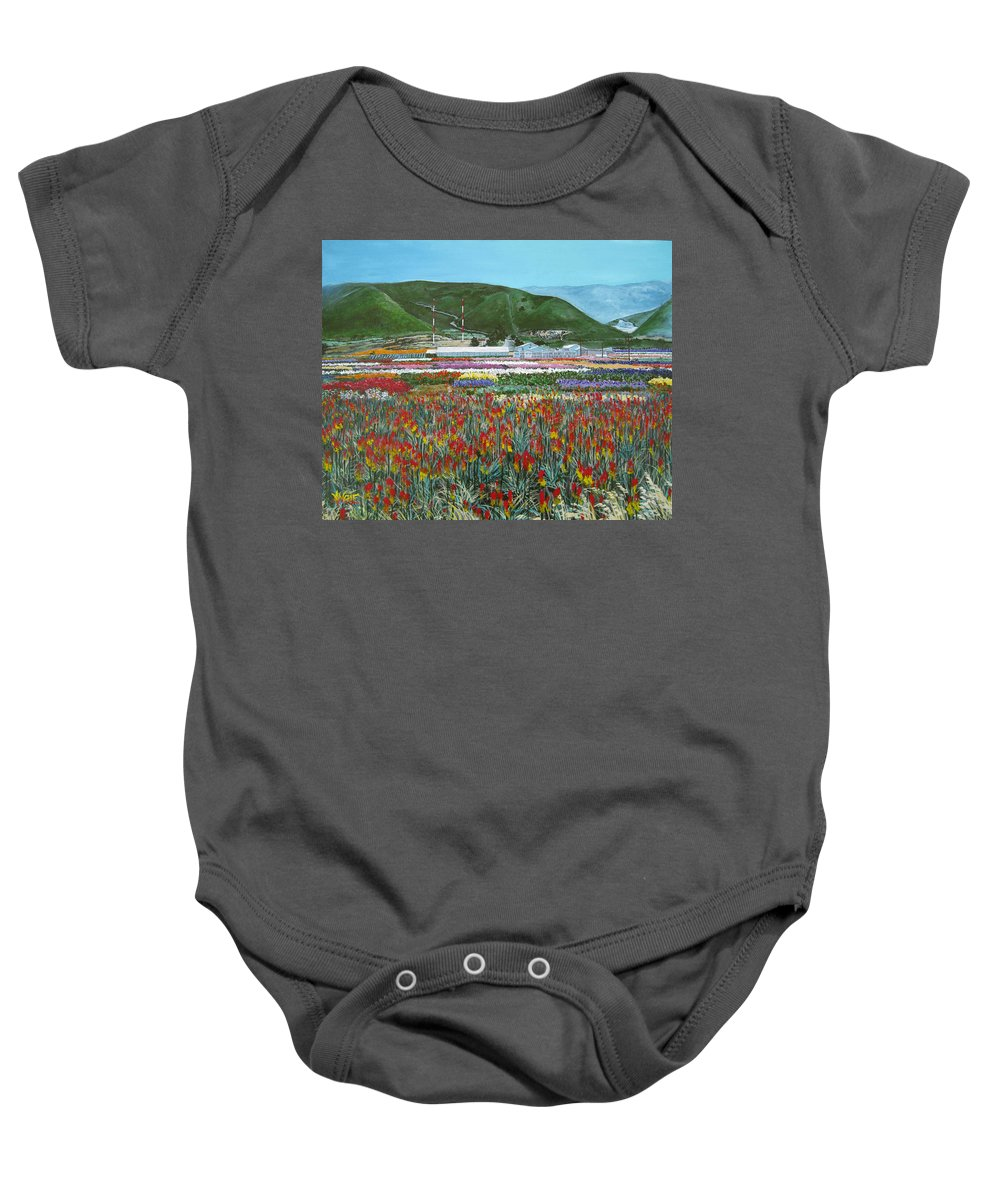 Flowers Baby Onesie featuring the painting Lookout Point by Angie Hamlin