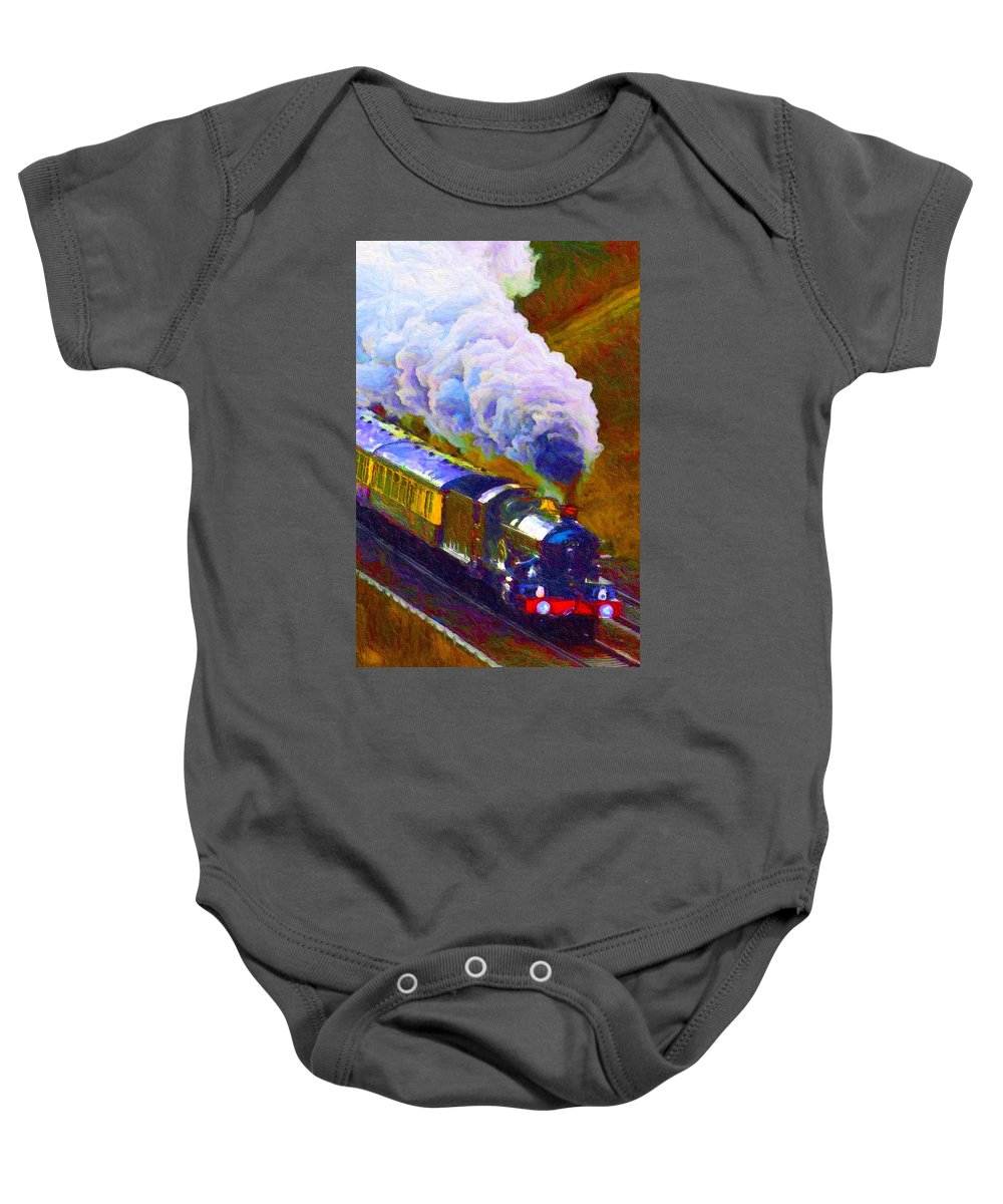 Art Baby Onesie featuring the digital art Making Smoke by Chuck Mountain