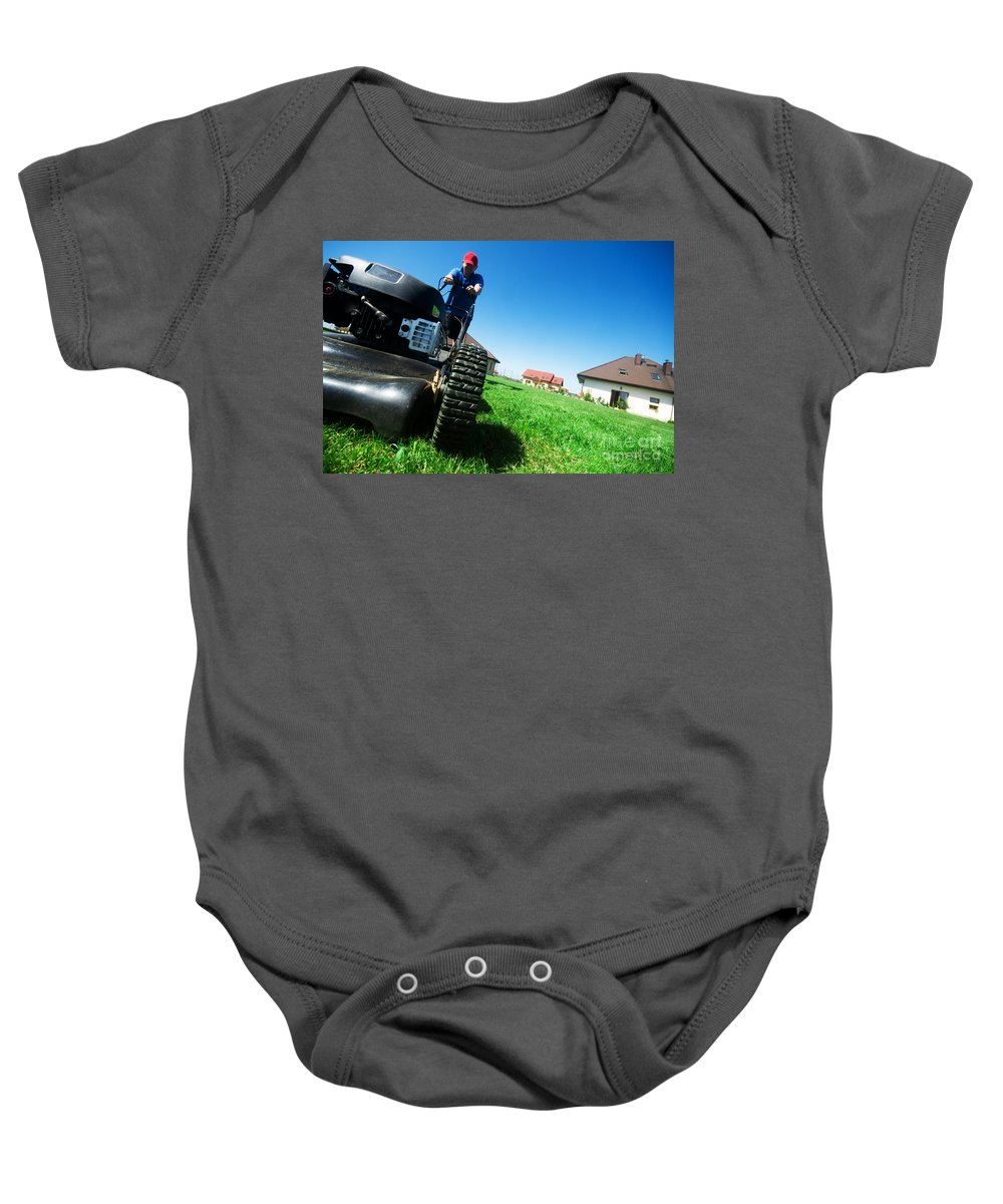 Backyard Baby Onesie featuring the photograph Mowing The Lawn by Michal Bednarek