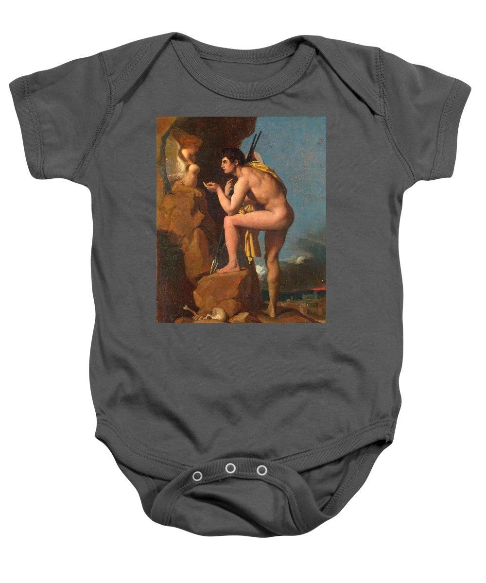 Jean-auguste-dominique Ingres Baby Onesie featuring the painting Oedipus And The Sphinx by Jean-Auguste-Dominique Ingres