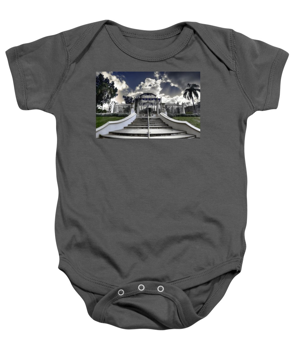 Palms Baby Onesie featuring the photograph Palm House by Wayne Sherriff