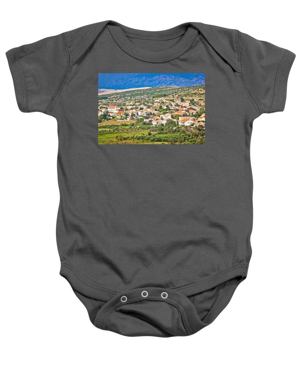 Kolan Baby Onesie featuring the photograph Picturesque Mediterranean Island Village Of Kolan by Brch Photography