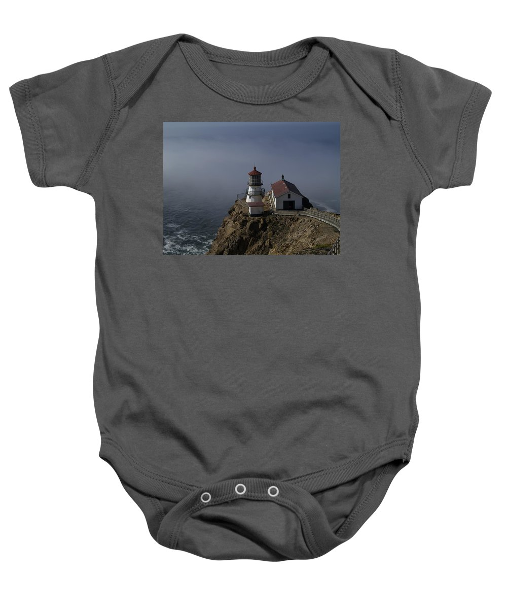 Pacific Ocean Baby Onesie featuring the photograph Pt Reyes Lighthouse by Bill Gallagher