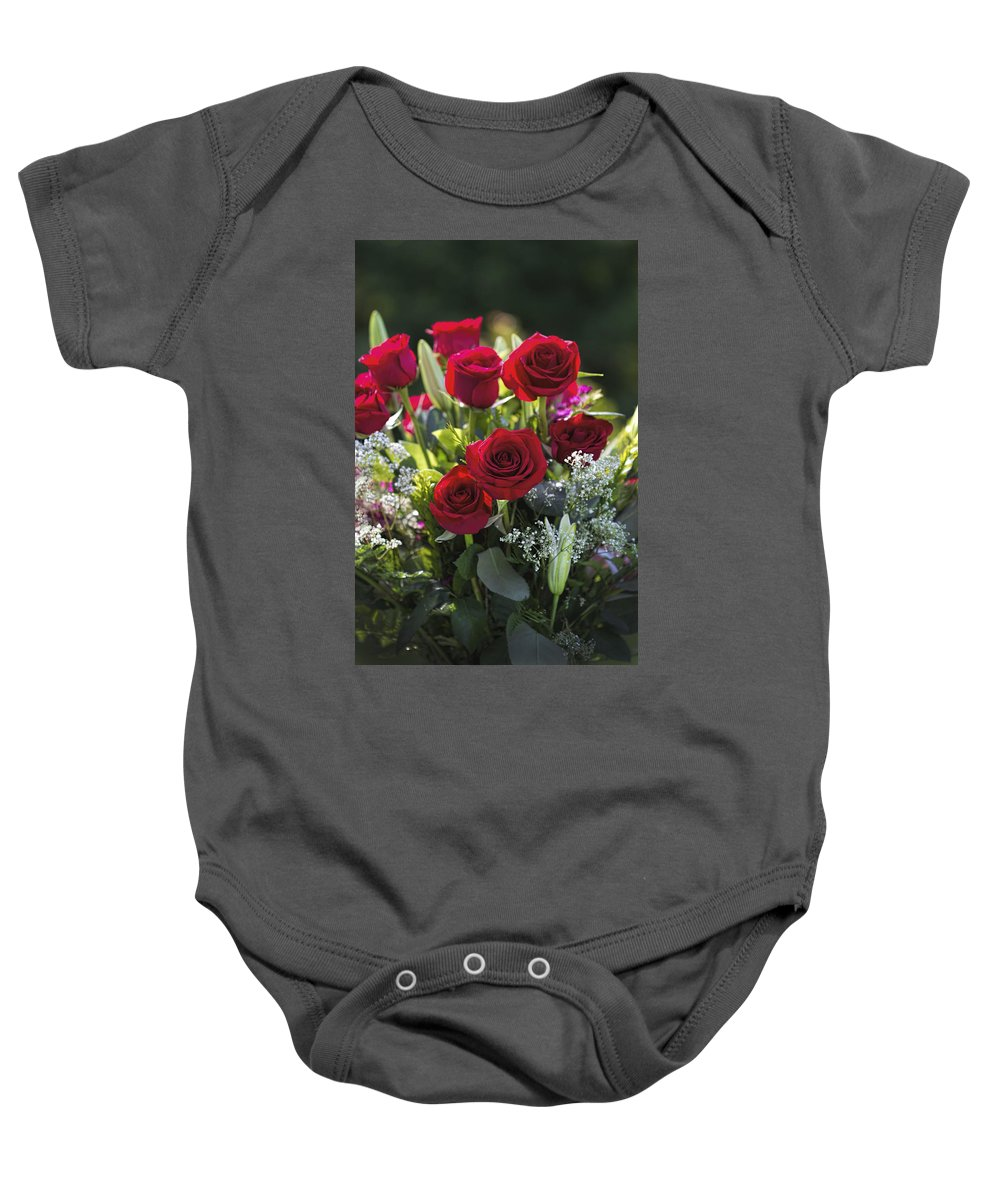 Red Baby Onesie featuring the photograph Red Rose Romance by Kathy Clark