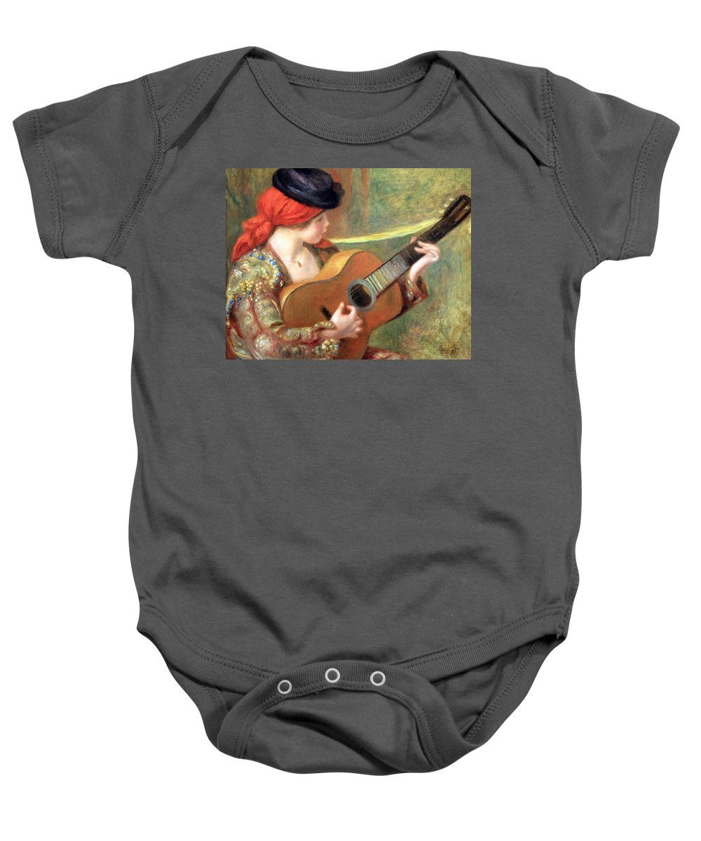 Young Spanish Woman With A Guitar Baby Onesie featuring the photograph Renoir's Young Spanish Woman With A Guitar by Cora Wandel
