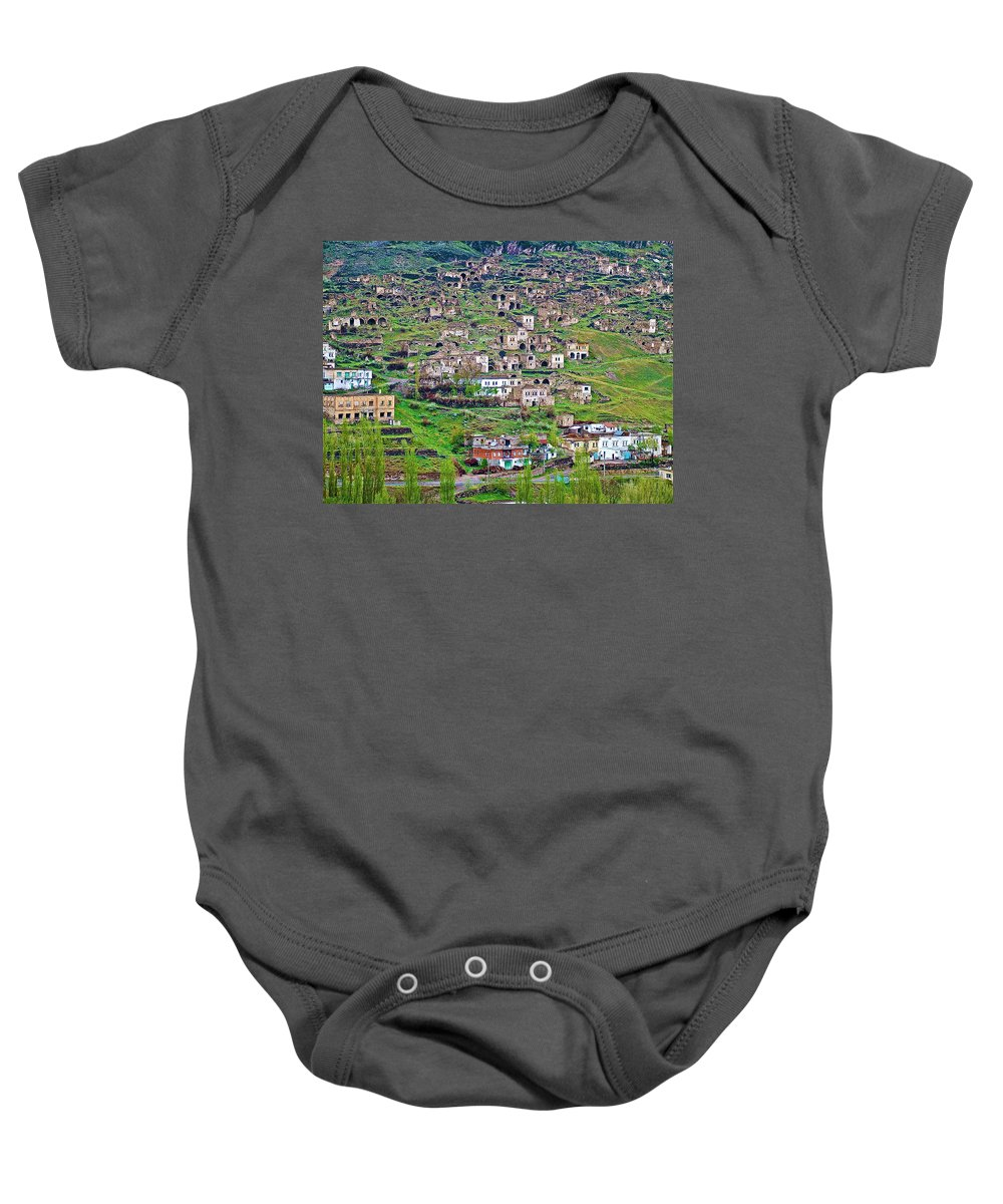 Residents Moved From Homes In Cliffs To Homes Below In 1951 In Cappadocia Baby Onesie featuring the photograph Residents Moved From Homes In Cliffs To Homes Below In 1951 In Cappadocia-turkey by Ruth Hager